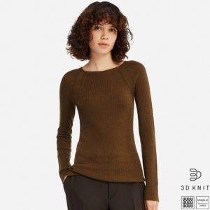 ユニクロU 3Dエクストラファインメリノリブクルーネックセーター(長袖)